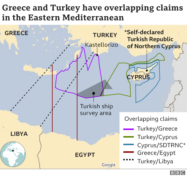 Map of overlapping Mediterranean claims