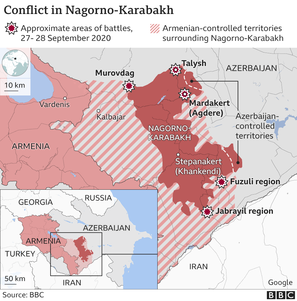 Armenia Azerbaijan Conflict Casualties Mount In Nagorno Karabakh Battle Bbc News