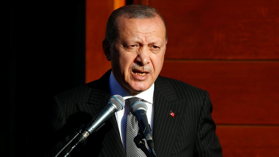 Turkish President Tayyip Erdogan delivers a speech in Cologne, Germany.