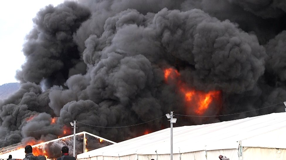 Tents at the Lipa migrant camp in the city of in Bihac in Bosnia-Herzegovina were set on fire