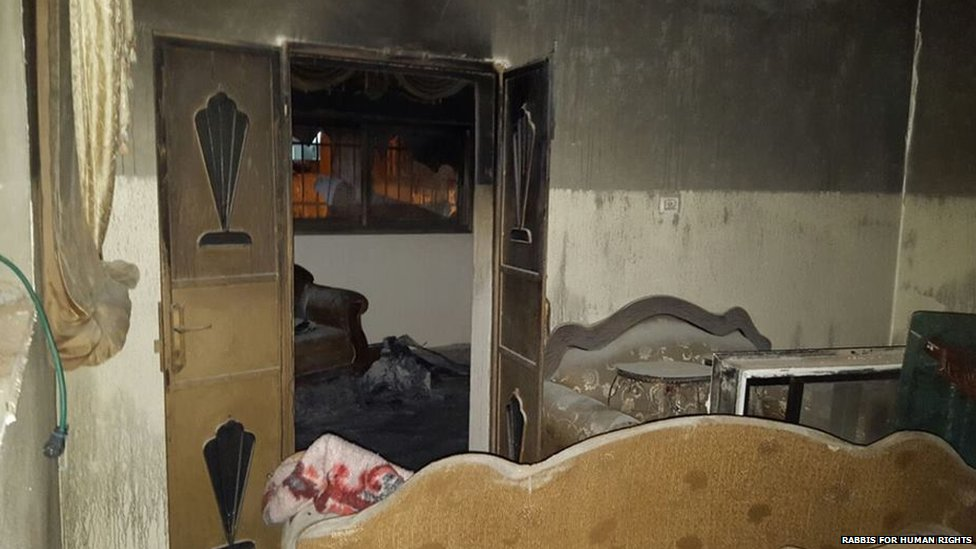 Arson damage to house in West Bank