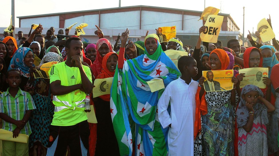 Supporters of the Union for National Salvation (USN) party at a rally for their candidate at the municipal stadium in Djibouti