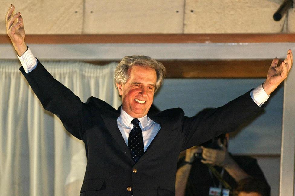 Tabaré Vázquez tras convertirse en presidente electo, en 2004.