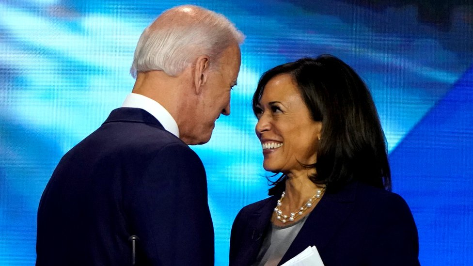 Kamala Harris Endorses Joe Biden As Democratic Presidential Candidate Bbc News