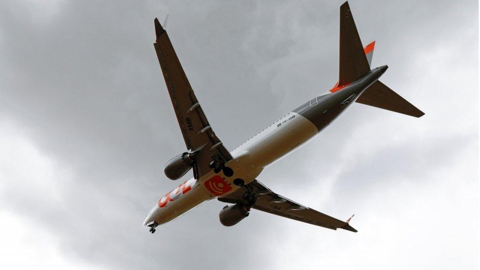 Un 737 Max de Gol a punto de aterrizar en Porto Alegre,