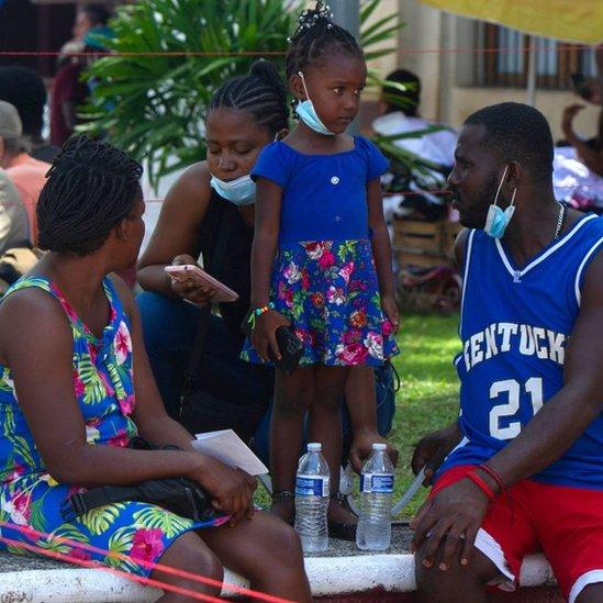 Migrantes haitianos en Tapachula.