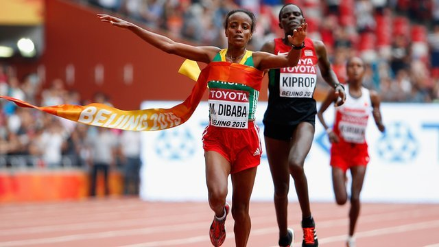 Ethiopia's Mare Dibaba wins wolrd marathon gold
