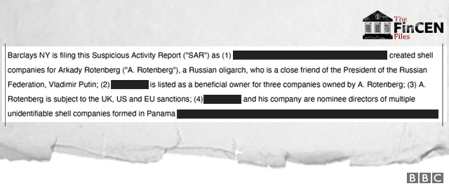 Extract from Barclays suspicious activity report into Arkady Rotenberg