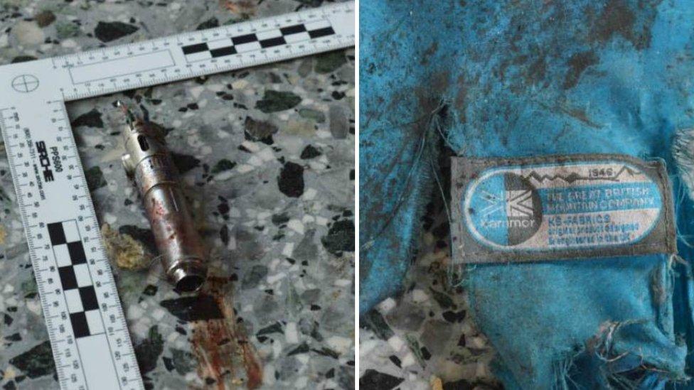 Possible detonator and backpack remnants