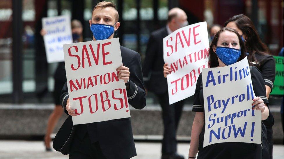 Manifestación de trabajadores despedidos en Estados Unidos.