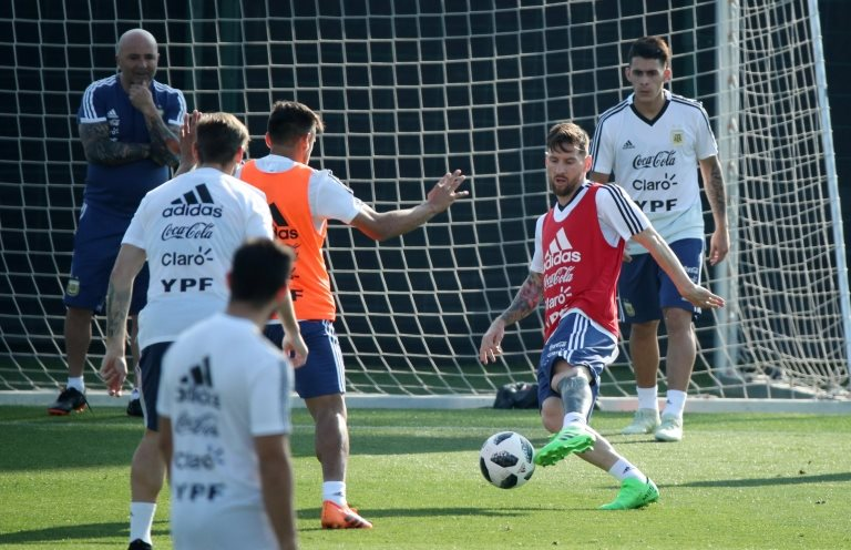 La selección argentina en un entrenamiento