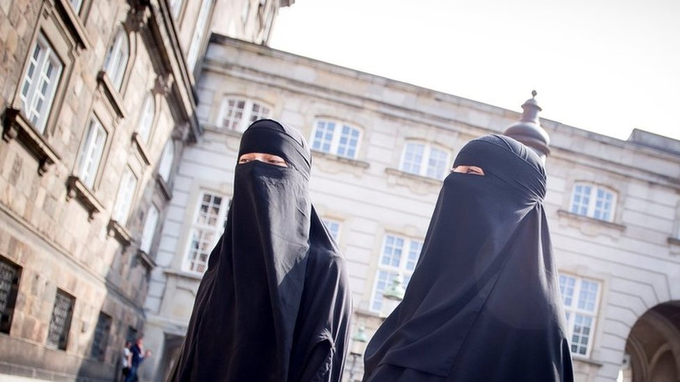 Women in niqab are pictured at Christiansborg Palace in Copenhagen, after the Danish Parliament banned the wearing of face veils in public, 31 May 2018