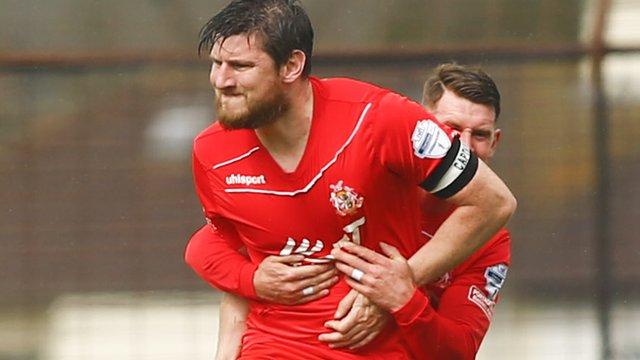 Portadown's Ken Oman celebrates his goal against Ballymena United