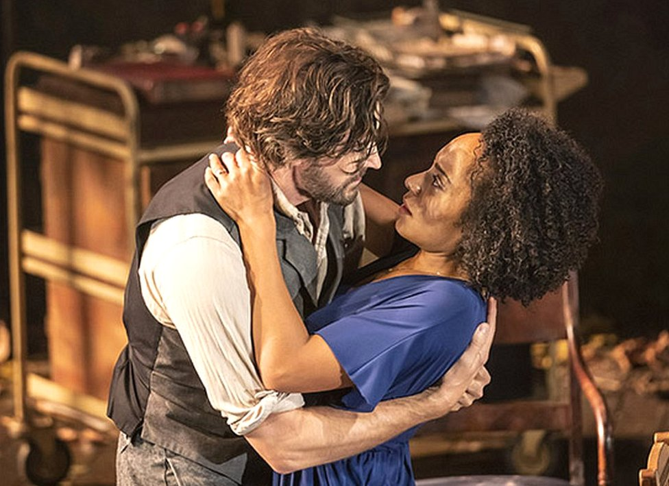 Richard Armitage as the romantic idealist Doctor Astrov with Rosalind Eleazar as the sensuous Yelena