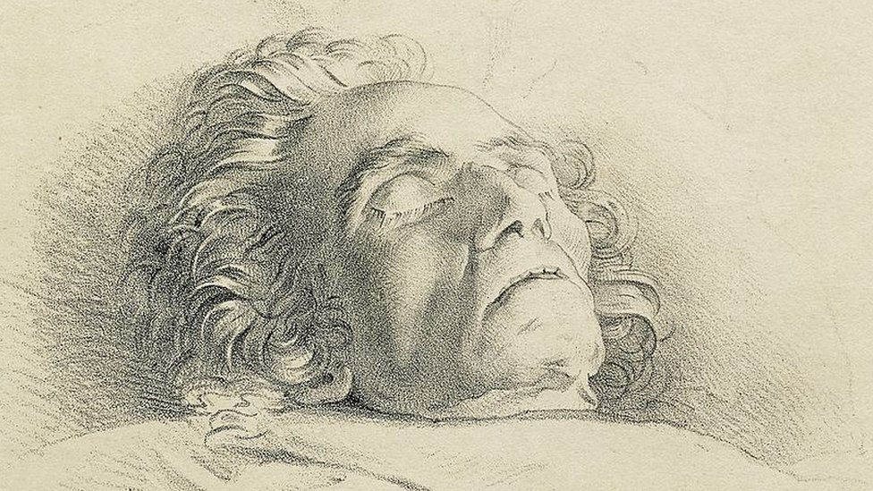 Etching of Beethoven on his death bed.