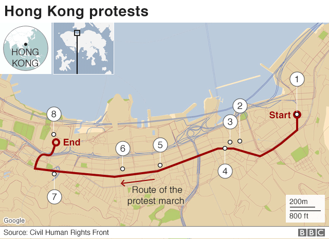 A map shows the numbers one to eight on a plan of Hong Kong, stretching from the east to the west across the city