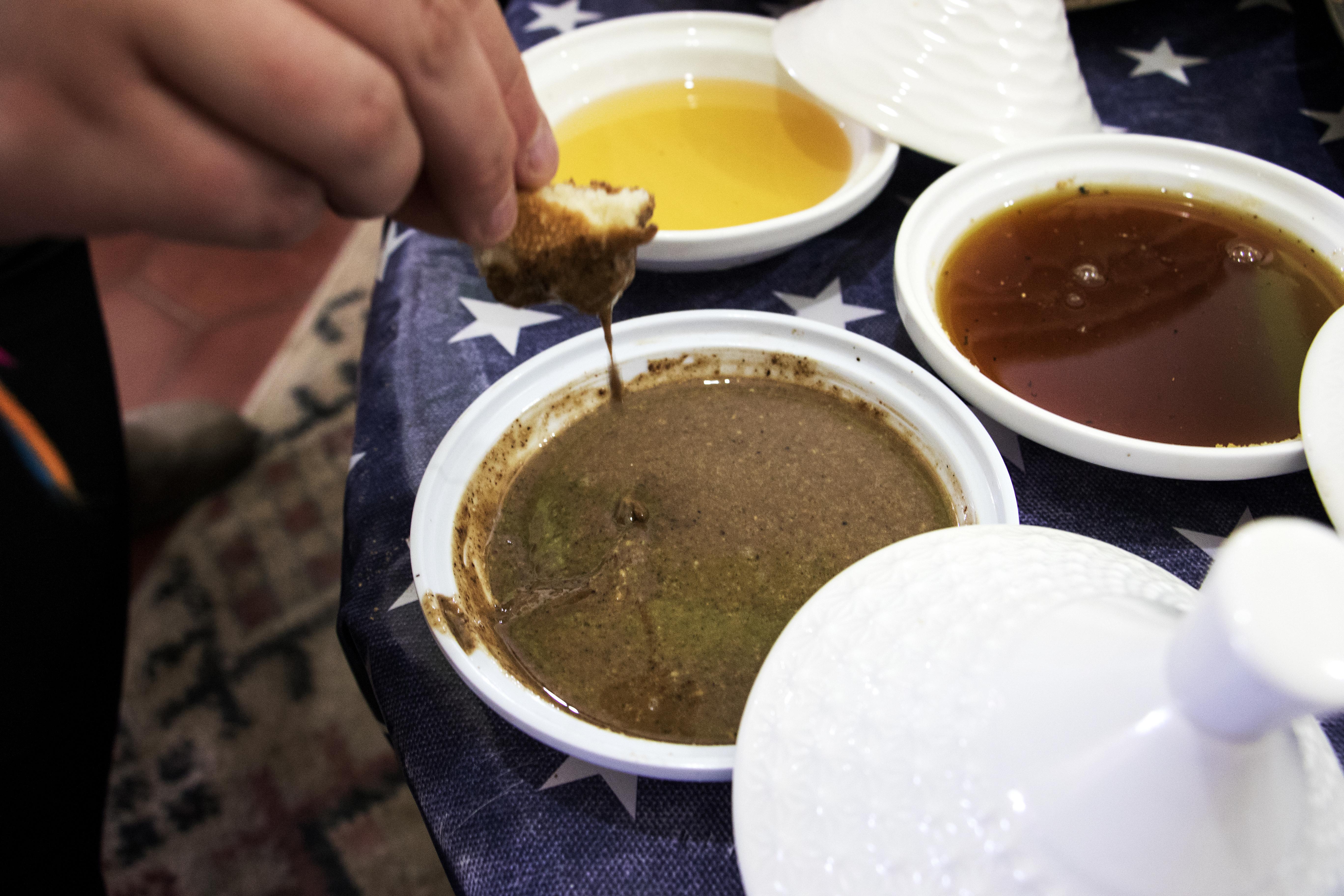 Argan oil being dipped