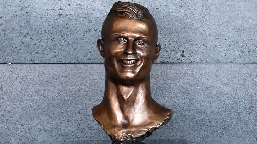 A bust of football player Cristiano Ronaldo unveiled at Cristiano Ronaldo Airport in Funchal