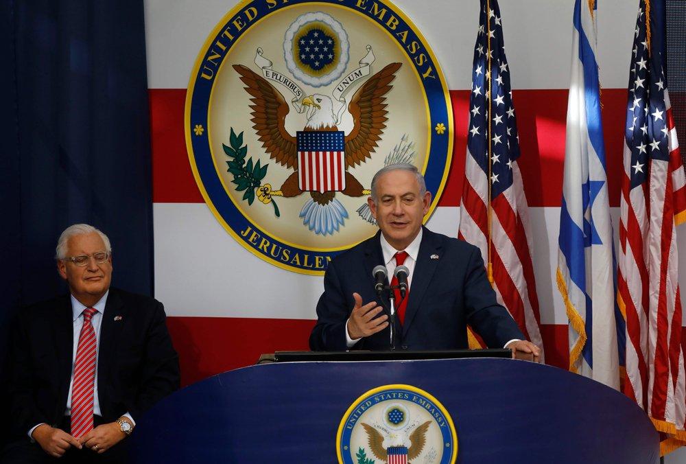 Benjamín Netanyahu da un discurso durante la inauguración de la embajada de EE.UU. en Jerusalén