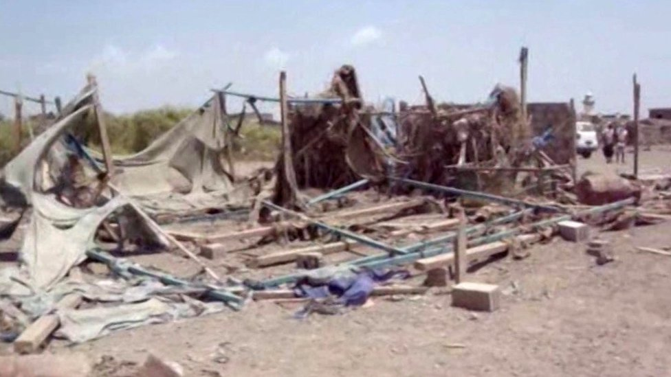 Aftermath of suspected air strike on wedding celebration in village of Wahijah, Taiz province, Yemen (28 September 2015)