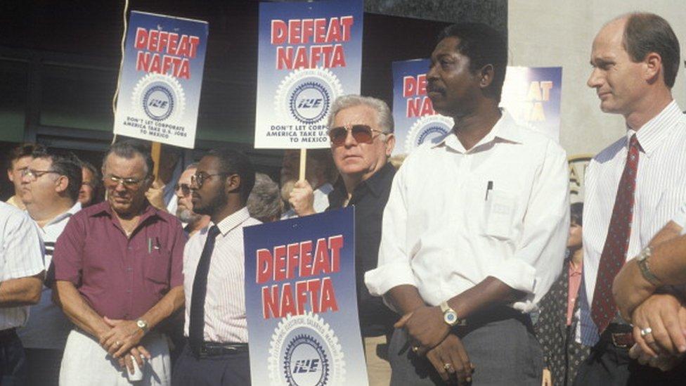 Protesta contra el TLCAN.
