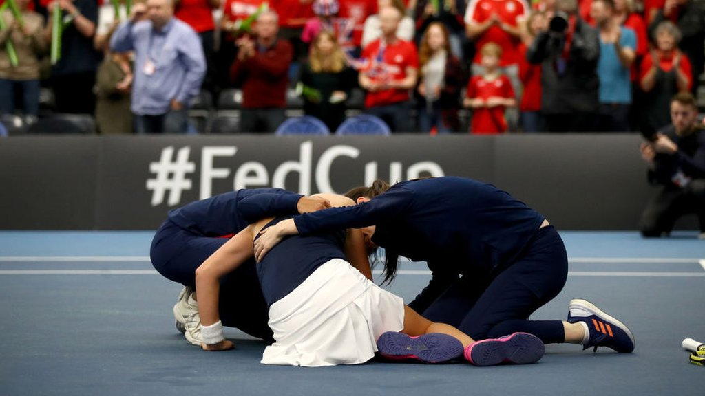 Konta puts GB into Fed Cup play-offs despite 'feeling rubbish'