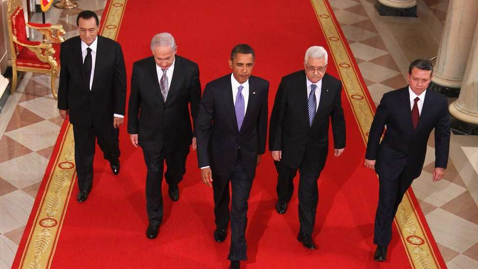 Egyptian President Hosni Mubarak, Israeli Prime Minister Benjamin Netanyahu, US President Barack Obama, Palestinian Authority President Mahmoud Abbas, and King Abdullah II of Jordan are pictured in 2010 at the White House