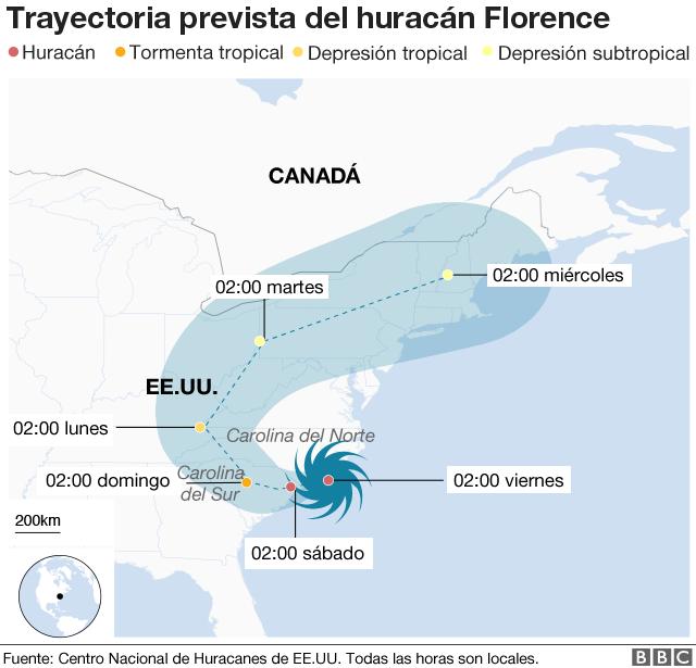 Mapa trayectoria Florence 14 septiembre