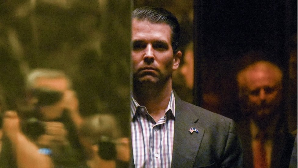 Donald Trump Jr stands in Trump Tower last January