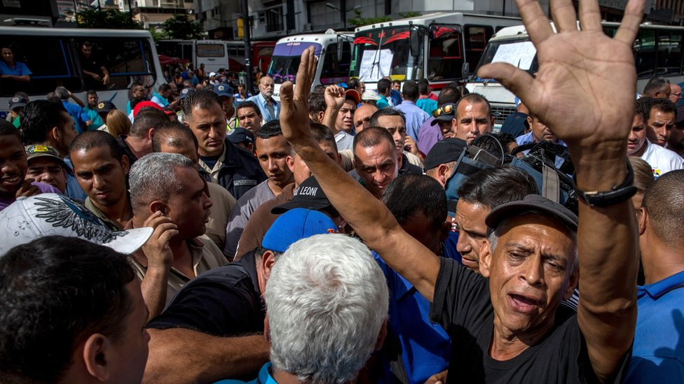 Bus drivers protest in Caracas, Venezuela, on 21 September