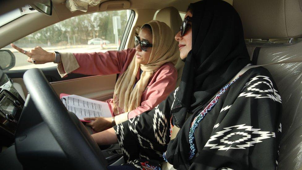 Saudi woman taking a driving test in Jeddah (file photo)