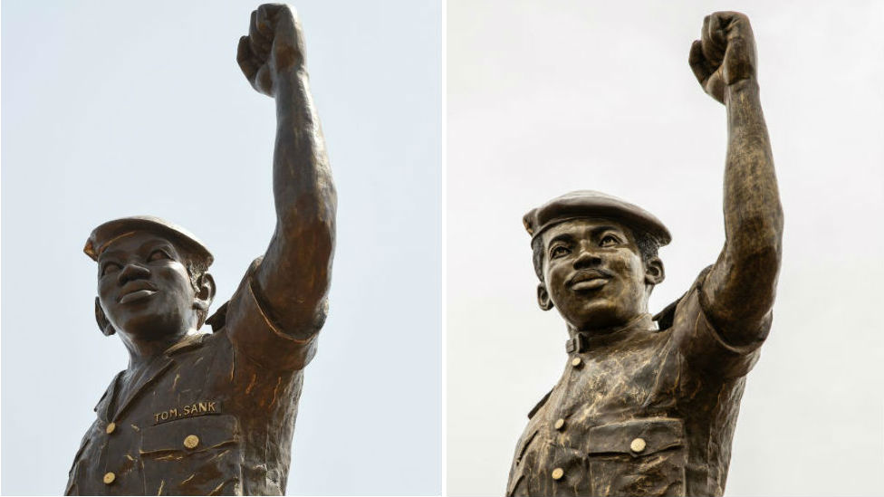 A composite image showing the first statue as unveiled in March 2019, and the second statue as unveiled in May 2020.