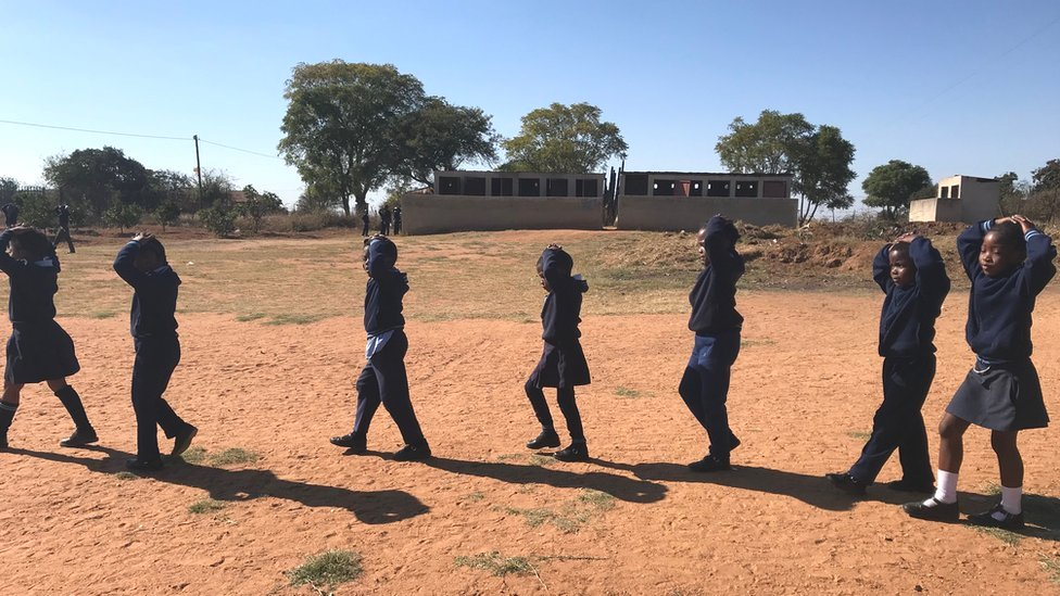 Learners in Sebushi Primary School, a school in the same village as Michael's school, must now accompany each other to the toilets as a new safety measure.