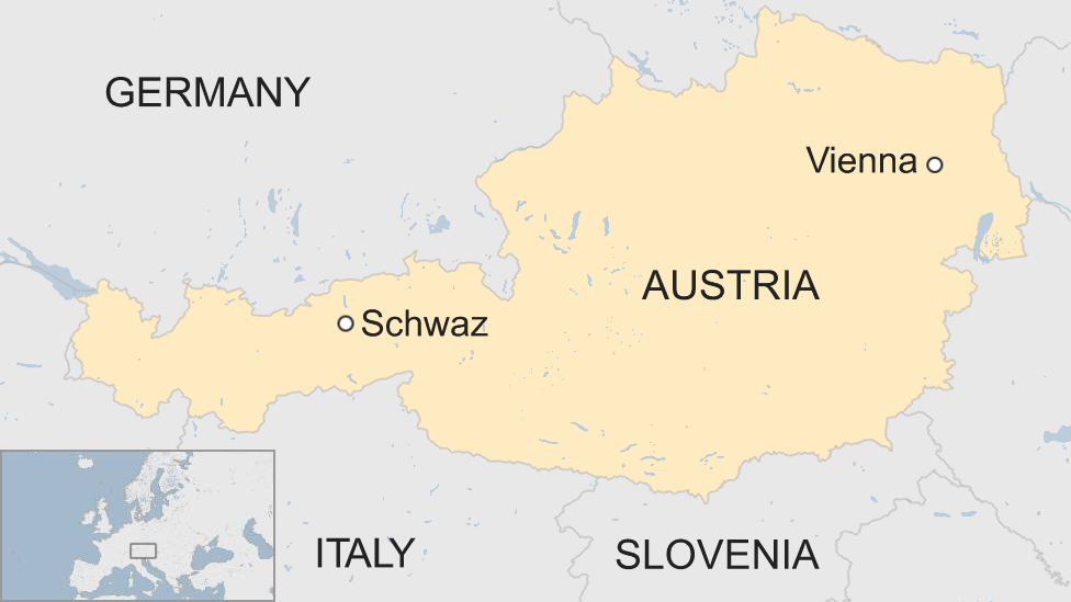 Map shows the location of the city of Schwaz in Austria