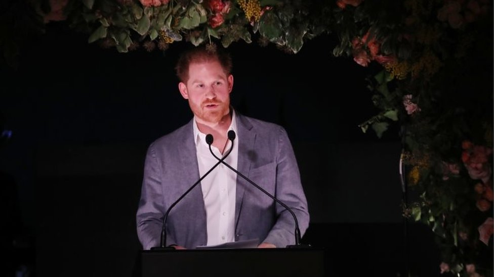 Prince Harry speaking on Sunday evening