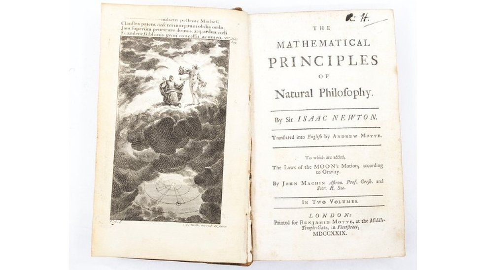 Open page of Sir Isaac Newton's book