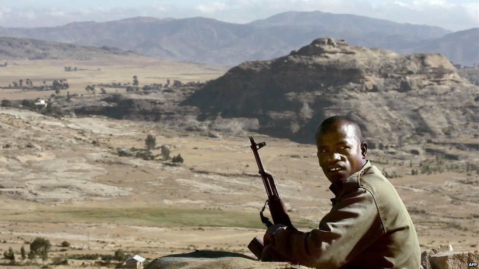Ethiopian soldier near Eritrean border, 2005 file pic
