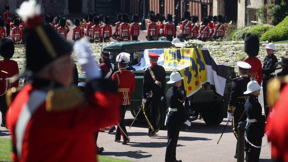 The duke's custom-designed hearse moves towards St George's Chapel during a procession at Windsor Castle