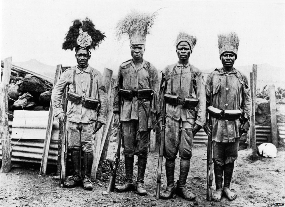 Askari patrol reports back in World War One in the colonies of German East Africa - now Tanzania