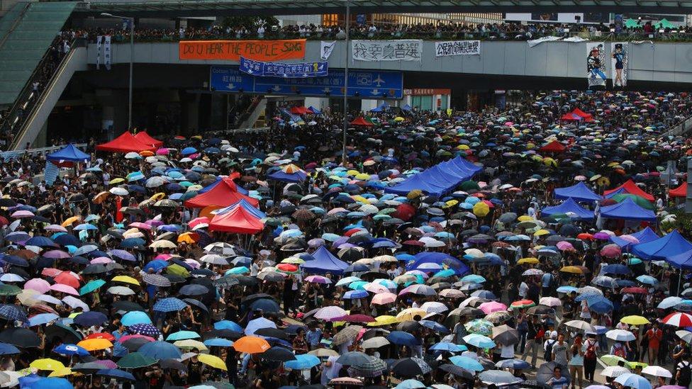 """Las protestas del """"movimiento de los paraguas"""" sacudieron Hong Kong en 2014."""