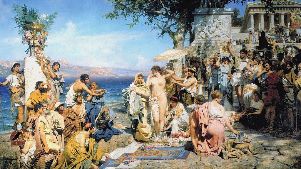 Friné en el Poseidonia en Eleusis. (1889) Por Henryk Siemiradzki.
