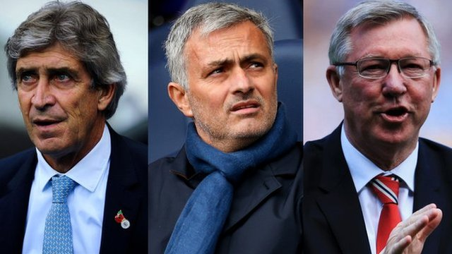 Manchester City manager Manuel Pellegrini, Chelsea manager Jose Mourinho and former Manchester United manager Sir Alex Ferguson