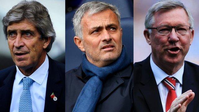 Manchester City manager Manuel Pellegrini, Chelsea manager Jose Mourinho and former Manchester United manager Sir Alex Ferguson