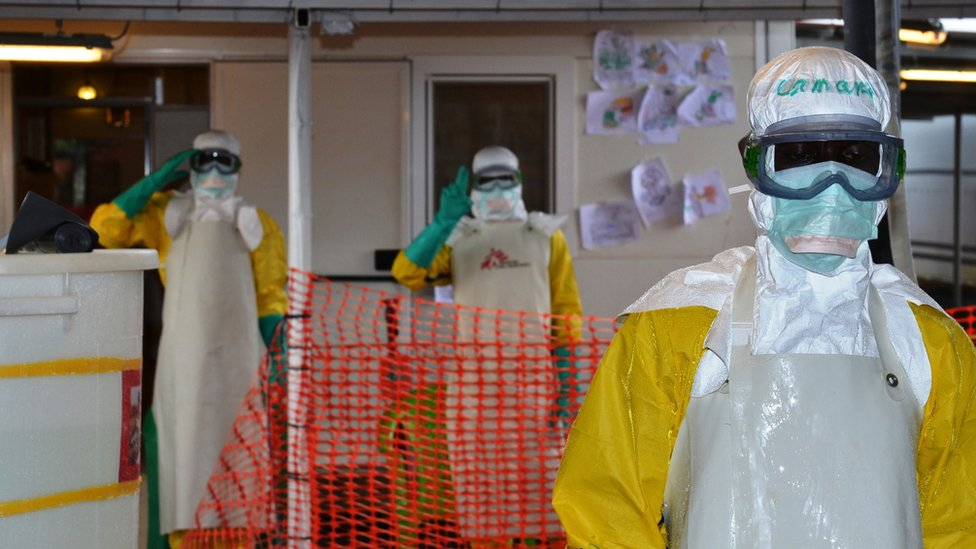 Health workers at the Nongo Ebola treatment centre in Conakry, Guinea, on 21 August 2015