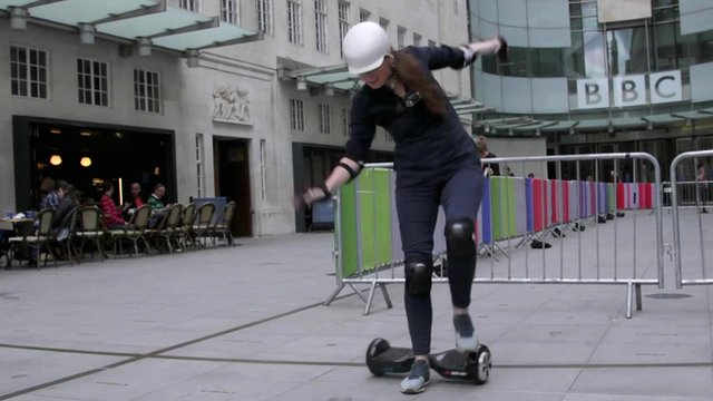 Emma Ailes tests a self balancing 'rideable'