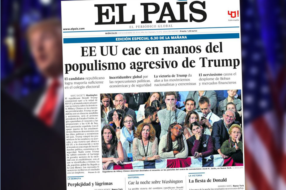 Front cover of Spain's El Pais newspaper