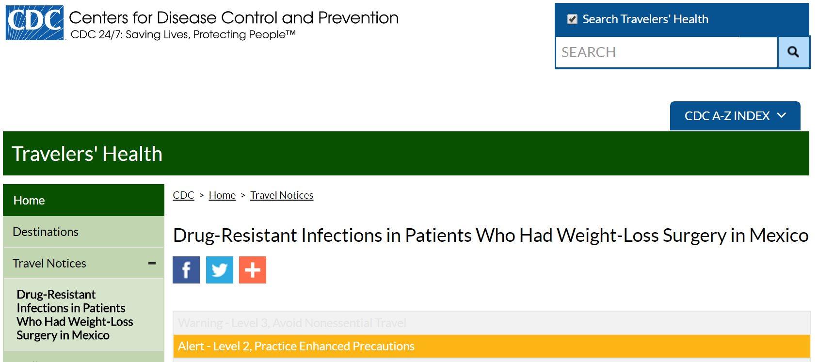 Una alerta de los CDC