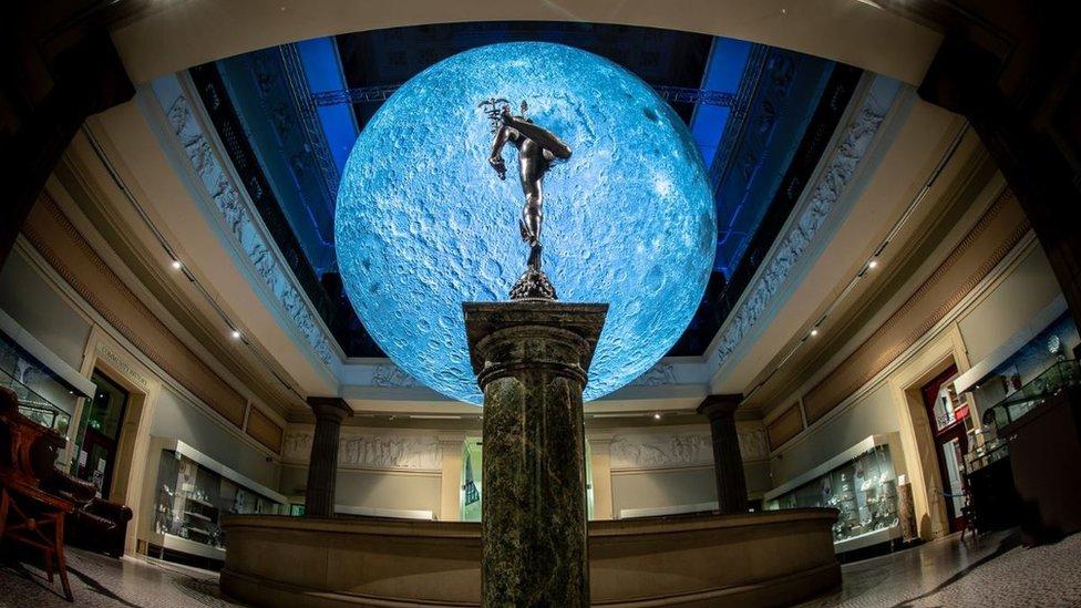 Luke Jerram's giant model moon wows Preston museum visitors