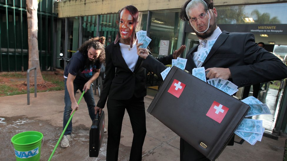 Anti-corruption activists acting in front of Brazilian Congress. 7 May 2016