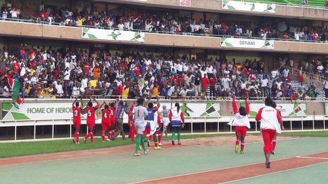 Kenya women celebrate their victory over Algeria